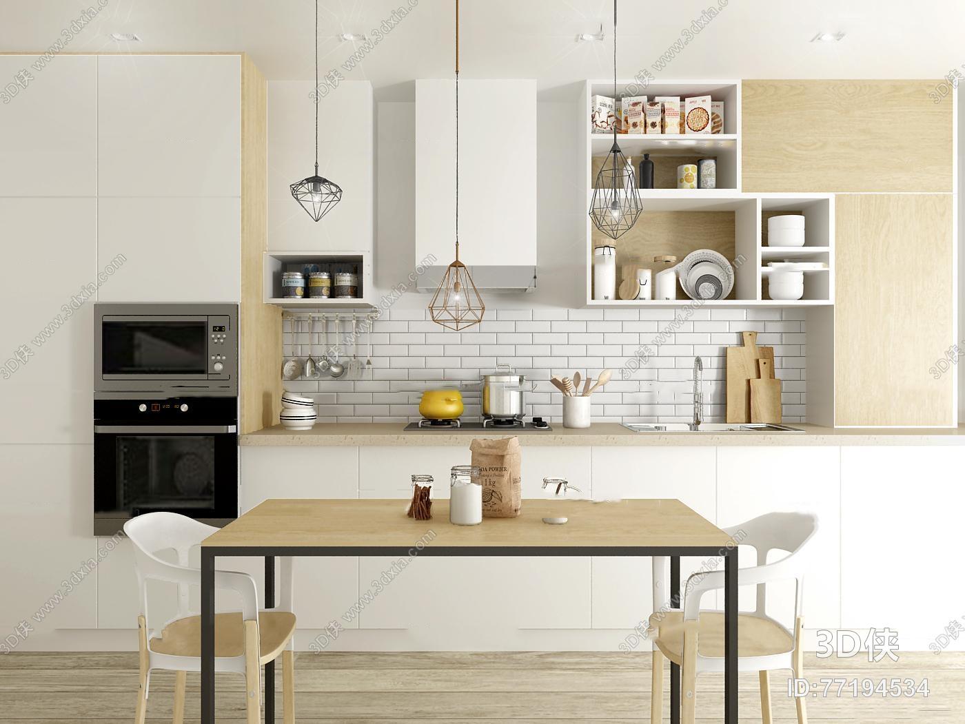 kitchen dinettes cost for remodel 现代厨房橱柜餐桌椅餐具组合3d模型 id 77194534 3d侠模型网 厨房餐桌椅