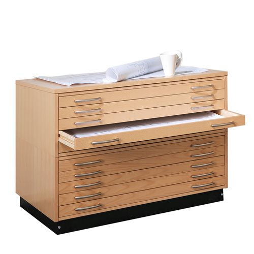 Complete drawing cabinet SKETCH 10 drawers A1 beech