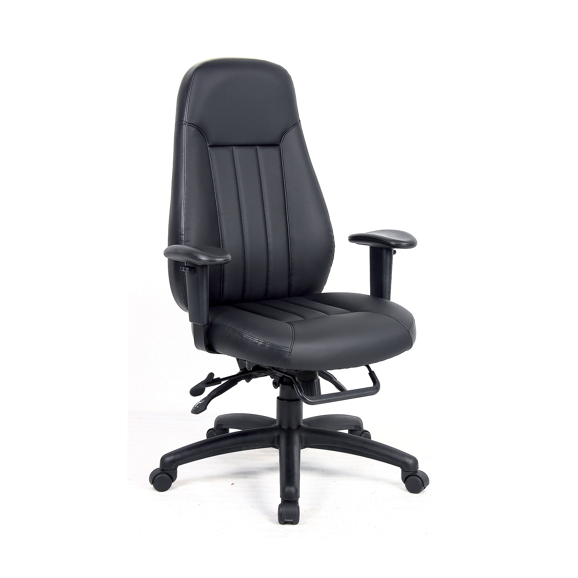 24 Hour Office Chairs 24 Hour Task Chair Sandhurst With High Back Black Faux Leather Aj Products Online