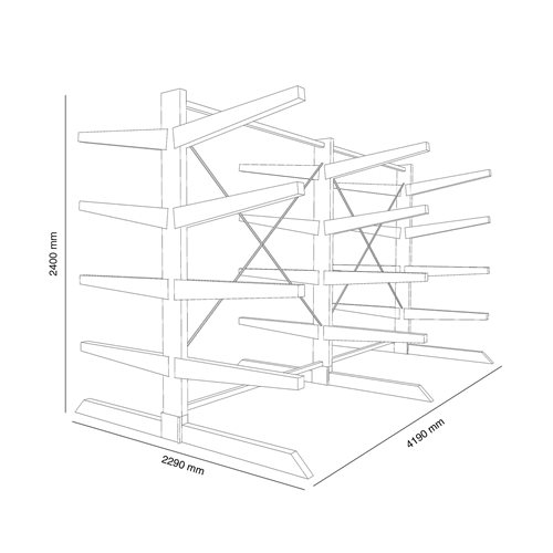 Heavy-duty cantilever racking package, 1000 mm arms, 6600