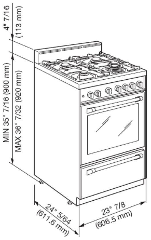 Verona VEFSGG244NSS 24 Inch Gas Freestanding Range with