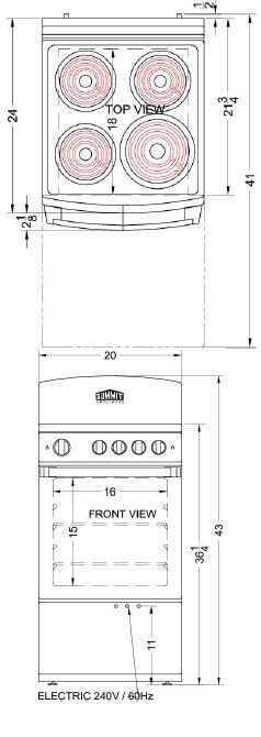 Summit RE201W 20 Inch White Electric Freestanding Range