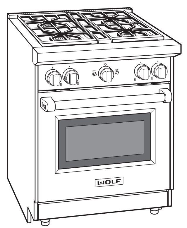 Wolf GR304LP 30 Inch Stainless Steel Gas Freestanding Range with Sealed Burner Cooktop, 2.9 cu