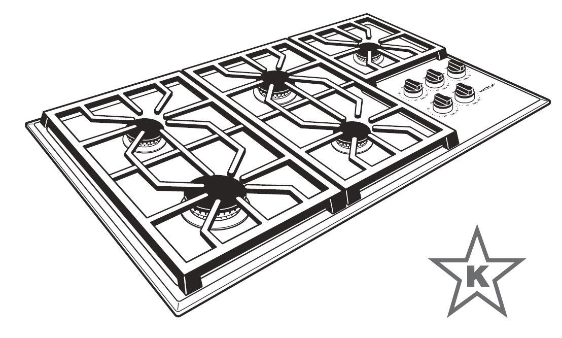 Wolf CG365PS 36 Inch Gas Sealed Burner Style Cooktop, in
