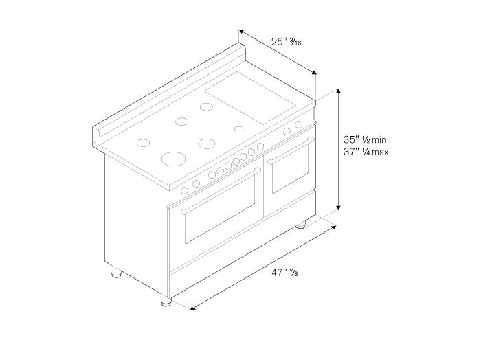 Bertazzoni PRO486GGASGI 48 Inch Professional Series Gas Freestanding Range with Sealed Burner