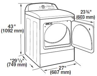 Whirlpool Cem2743bq 27 White Front Load Electric Dryer