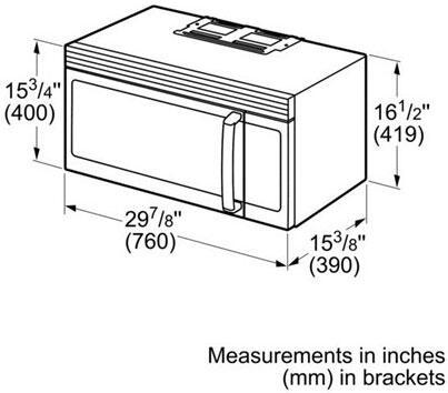 Bosch HMV3052U 300 Series Over the Range 1.6 cu. ft