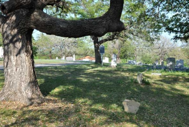 photo of an informal grave stone under a crooked tree