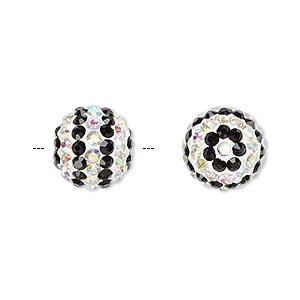 Bead, glass rhinestone / epoxy / resin, black, 12mm round