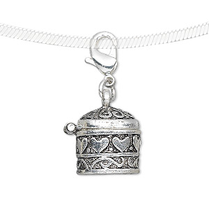 Drop, antique silver-finished
