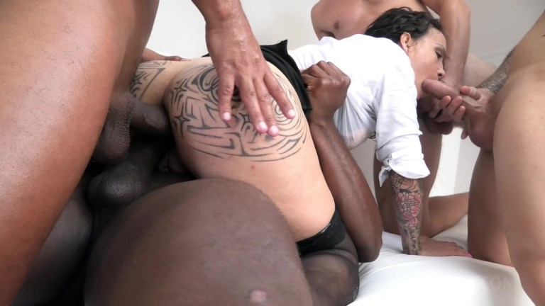 Natasha Ink 4on1 Piss drinking with DAP and anal creampie licking NF031