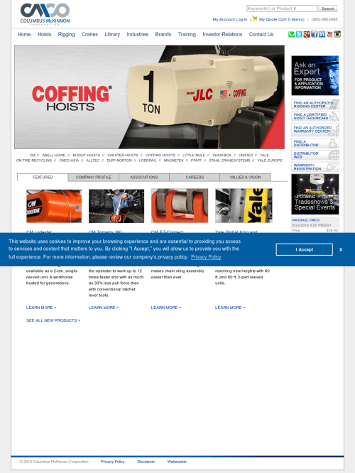 small resolution of coffing hoist website