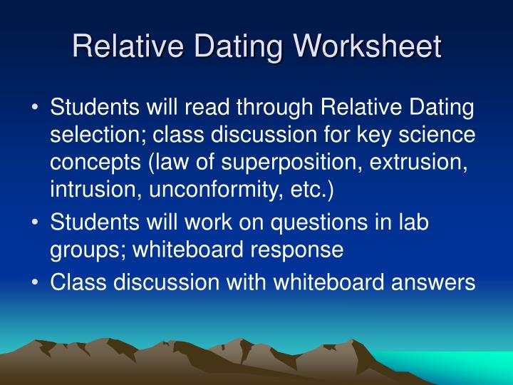 relative dating worksheet answers