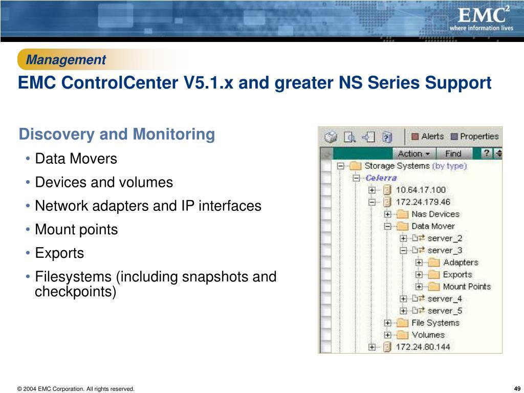 hight resolution of management emc controlcenter