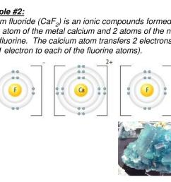 the calcium atom transfers 2 electrons in total 1 electron to each of the fluorine atoms  [ 1024 x 768 Pixel ]