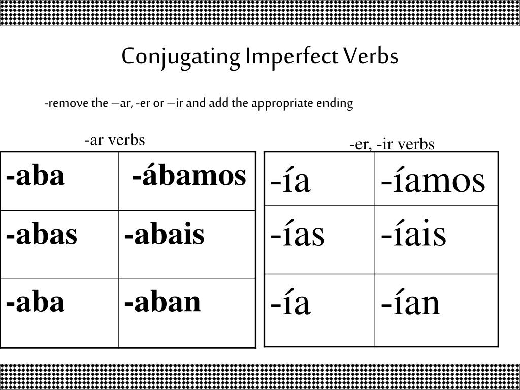 Imperfect Verb Endings Ar Er Ir