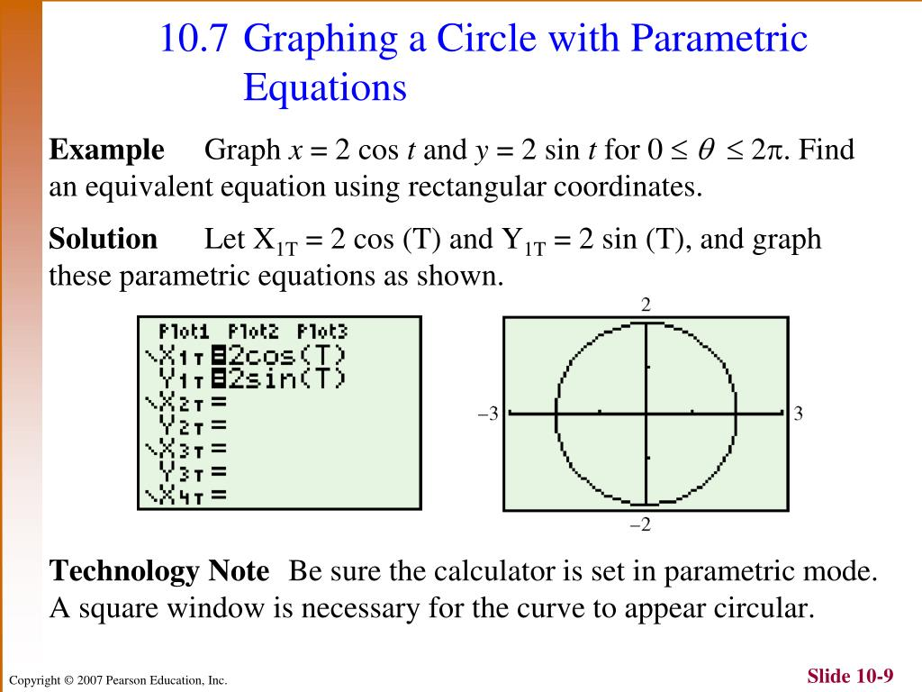 Write The Equation Of A Circle In Parametric Form