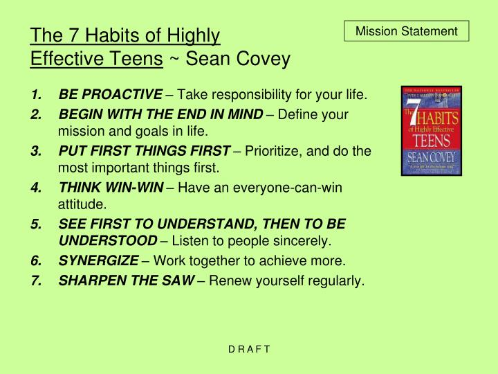 PPT The 7 Habits Of Highly Effective Teens Sean Covey