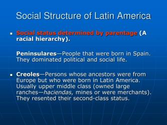 latin america social structure revolutions ppt powerpoint presentation hierarchy