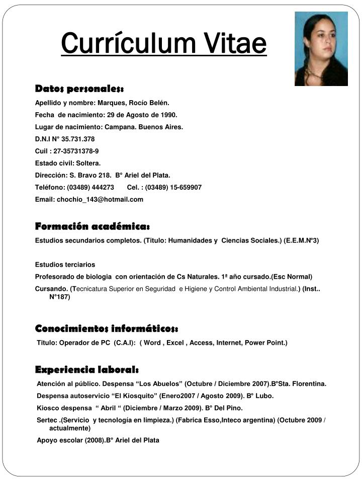 PPT  Currculum Vitae PowerPoint Presentation  ID4226892