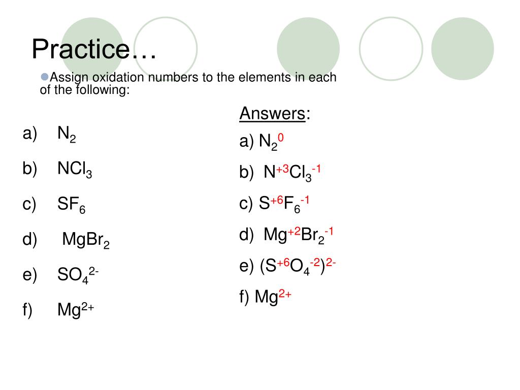 Fun Practice and Test: Practice Oxidation Numbers