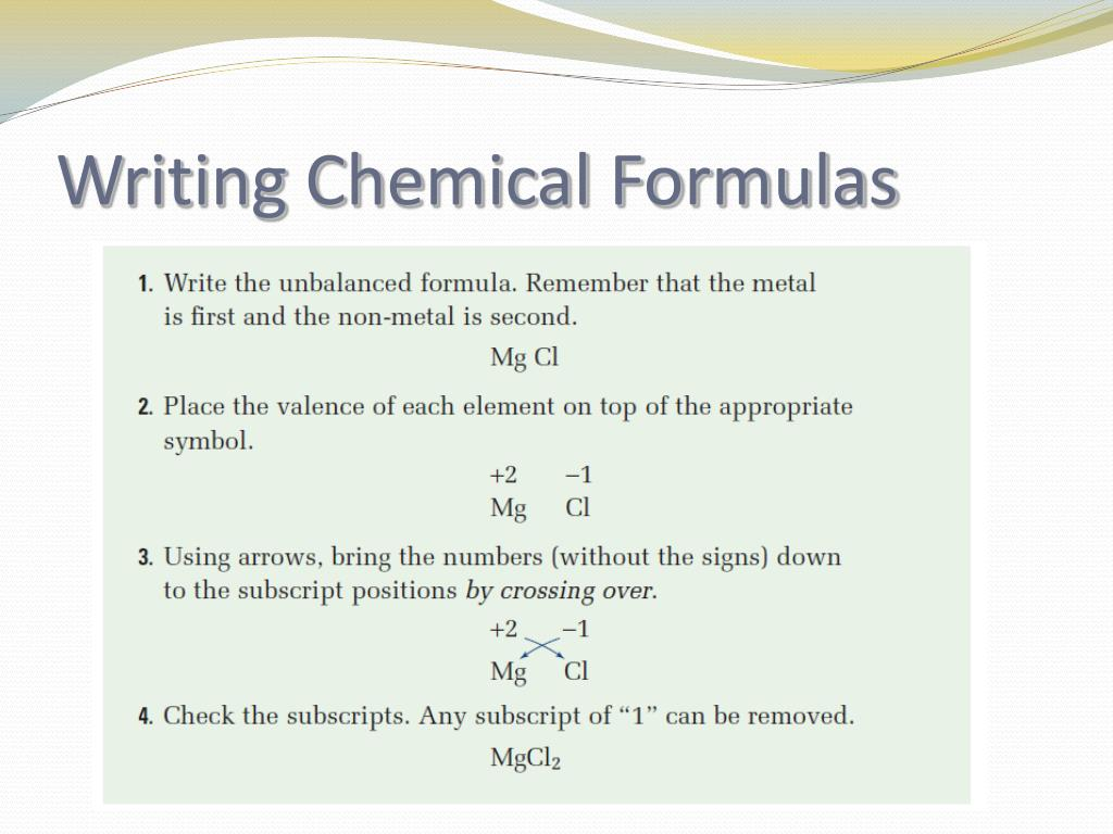 How To Write Chemical Formulas