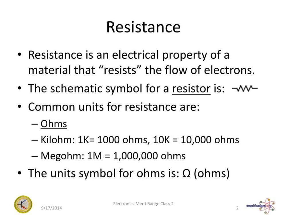 medium resolution of resistance resistance is an electrical property of a material that resists the flow of electrons the schematic symbol for a resistor is common