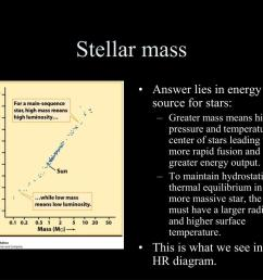 stellar mass answer lies in energy source for stars greater mass means higher pressure and temperature at center of stars leading to more rapid fusion  [ 1024 x 768 Pixel ]