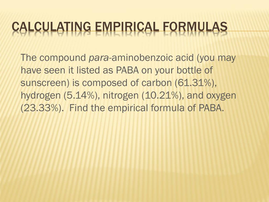 Determining Empirical Formulas Worksheet