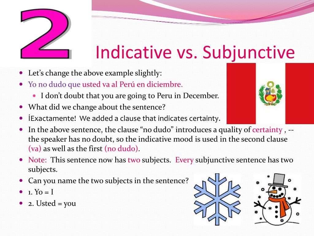 Indicative Vs Subjunctive Spanish Examples