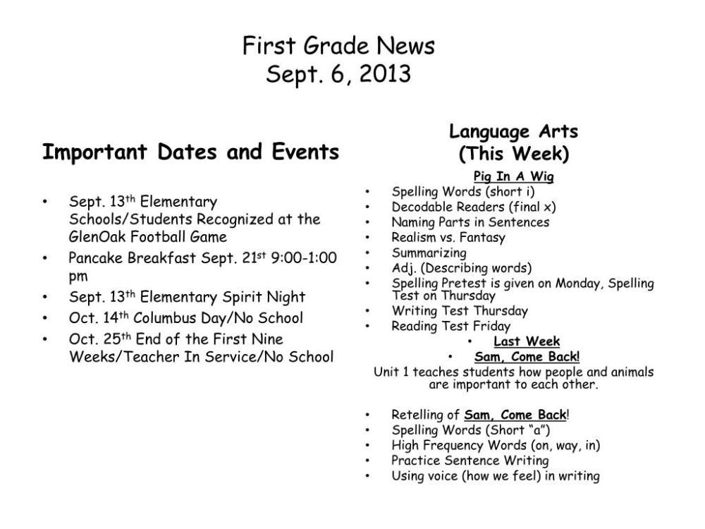 medium resolution of PPT - First Grade News Sept. 6