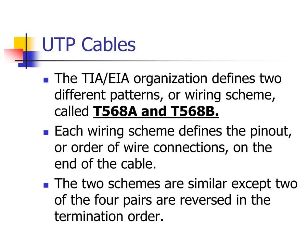 medium resolution of utp cables the tia eia organization defines two different patterns or wiring scheme called t568a and t568b each wiring scheme defines the pinout