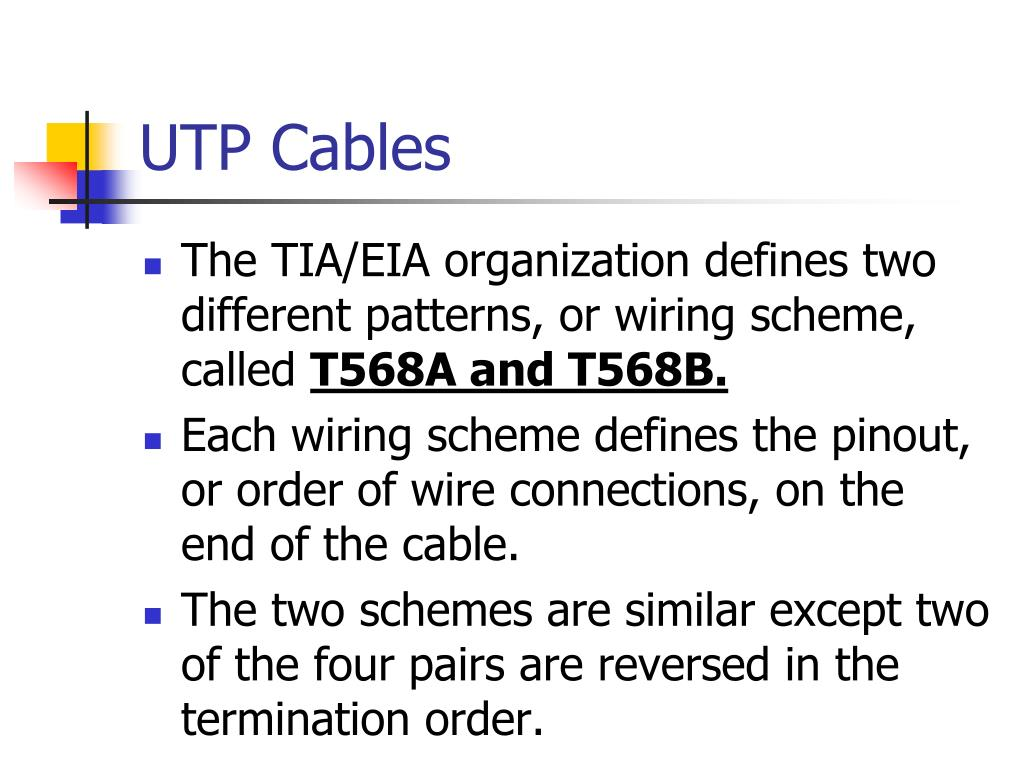 hight resolution of utp cables the tia eia organization defines two different patterns or wiring scheme called t568a and t568b each wiring scheme defines the pinout