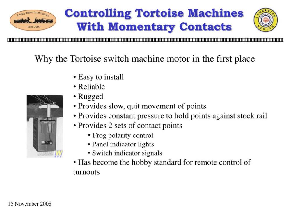 medium resolution of controlling tortoise machineswith momentary contacts why the tortoise switch machine