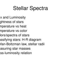 color colors spectra of stars classifying stars h r diagram stefan boltzman law stellar radii measuring star masses mass luminosity relation [ 1024 x 768 Pixel ]