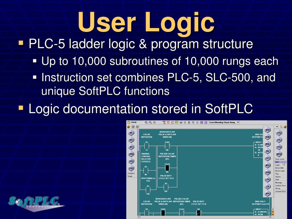 hight resolution of user logic plc 5 ladder logic program structure up to 10 000 subroutines of 10 000 rungs each instruction set combines plc 5 slc 500