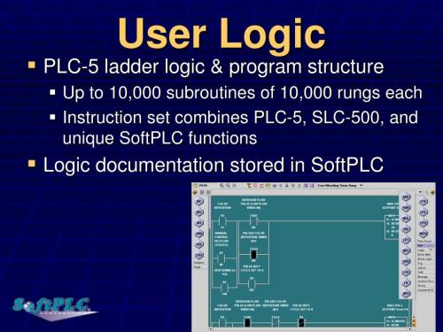 small resolution of user logic plc 5 ladder logic program structure up to 10 000 subroutines of 10 000 rungs each instruction set combines plc 5 slc 500