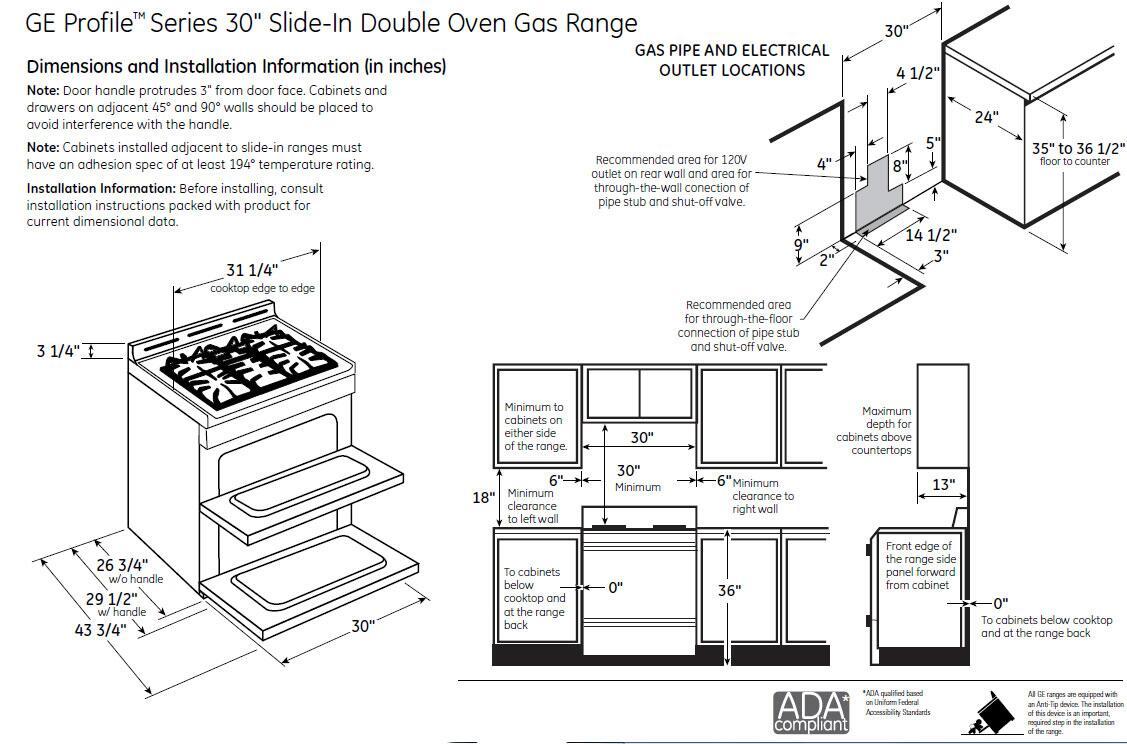 GE Profile PGS950SEFSS Slide-in Double Oven Gas Range