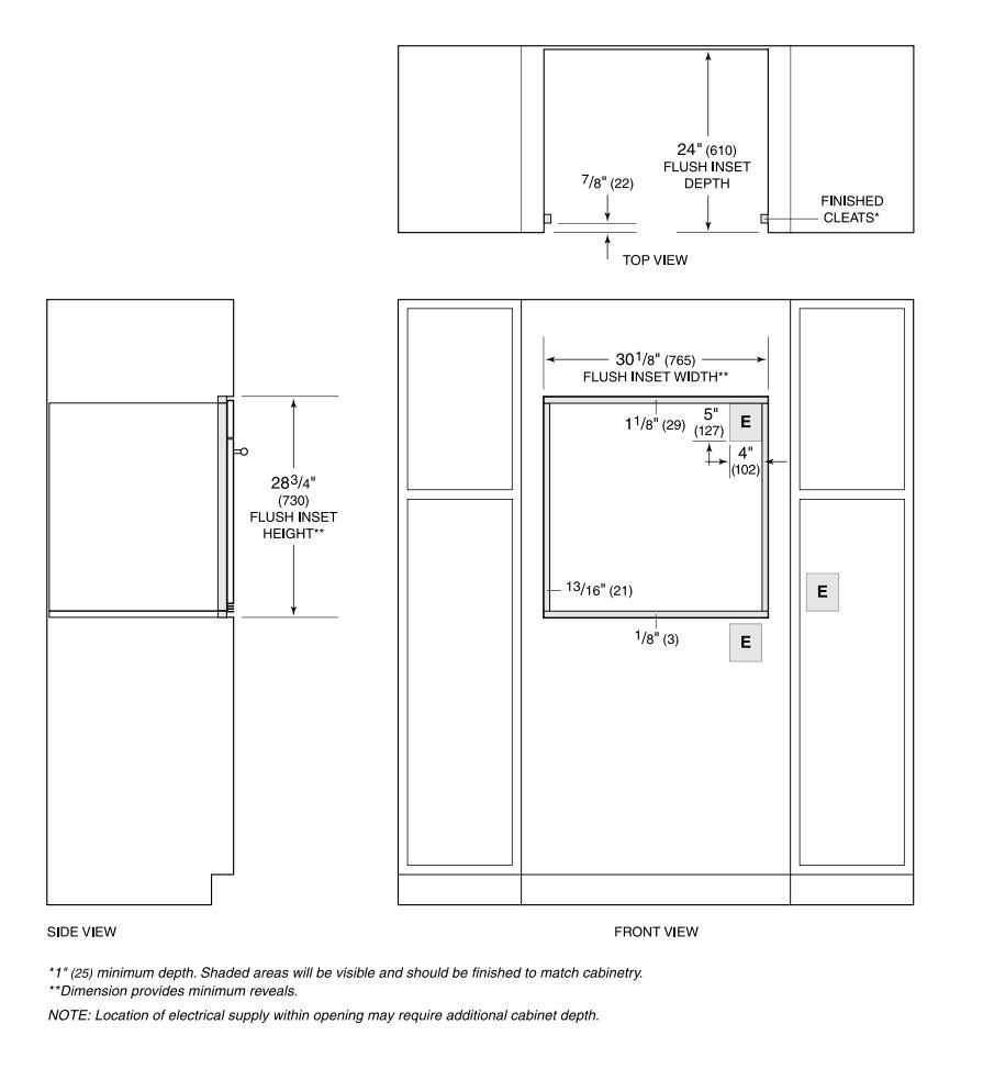 hight resolution of wolf m flush installation cutout diagram