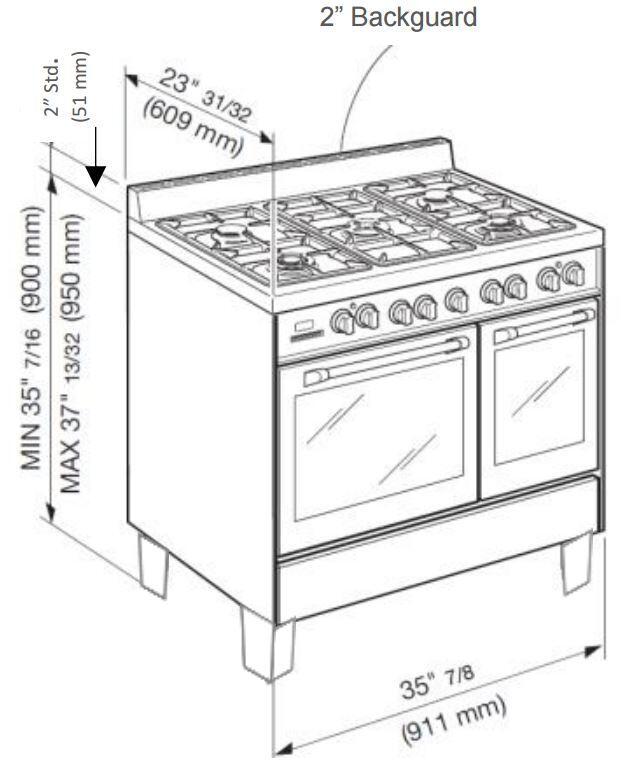 Verona VCLFSGG365DR 36 Inch Classic Series Gas Freestanding Range with 2.4 cu. ft. Primary Oven
