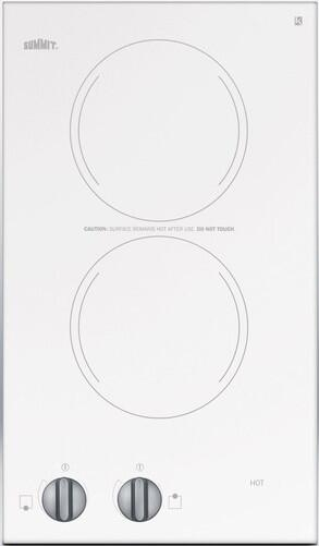 Summit CR2220WH 12 Inch 2 Element Electric Cooktop, in