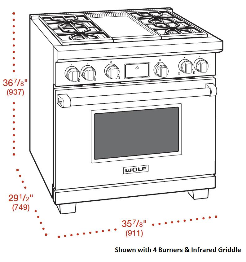 Wolf DF366 36 Inch Stainless Steel Dual Fuel Freestanding