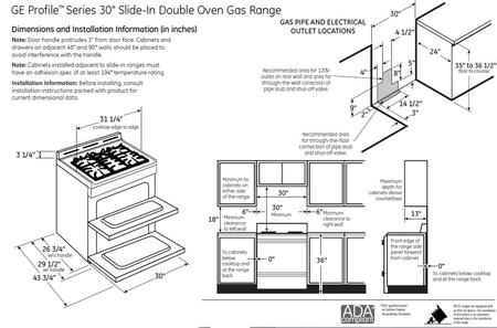 GE Profile PGS950SEFSS Slide-in Double Oven Gas Range