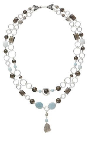 Double-Strand Necklace with Smoky Quartz and Amazonite