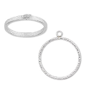 Ring base, sterling silver, 3 curved bands with loop, size