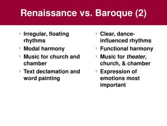 baroque renaissance vs period chapter early ppt powerpoint presentation music