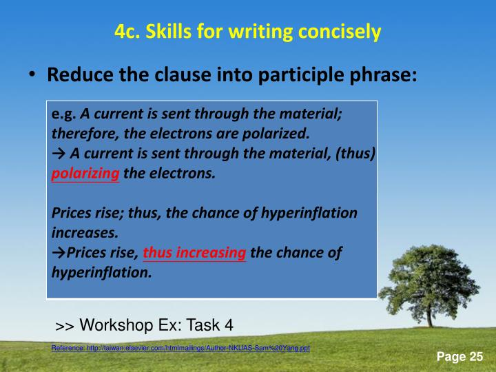 Participle Working Modifies The Subject The Prepositional Phrase