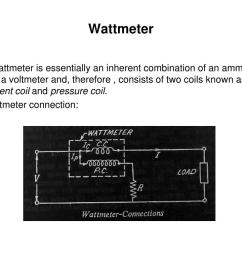 wattmeter a wattmeter is essentially an inherent combination of an ammeter and a voltmeter and therefore consists of two coils known as current coil  [ 1024 x 768 Pixel ]