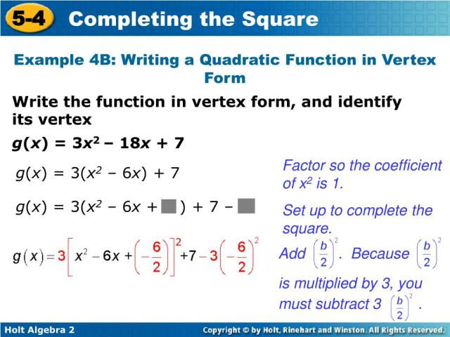 PPT - Solve quadratic equations by completing the square. Write