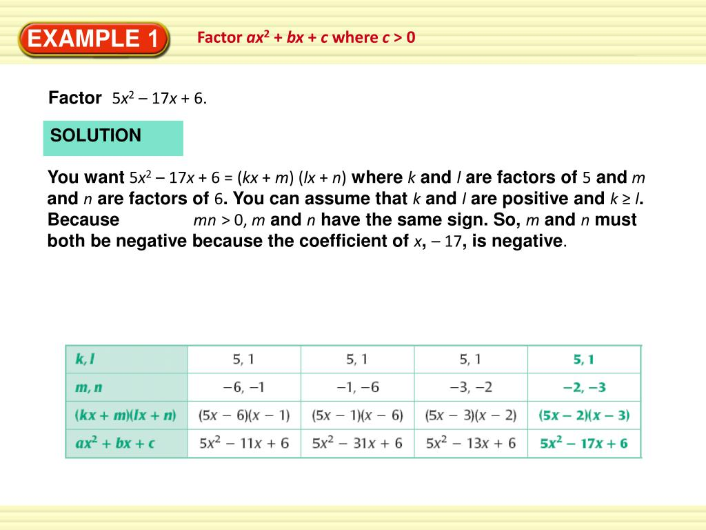 Solving Equations By Factoring Ax2 Bx C Lesson 21 2